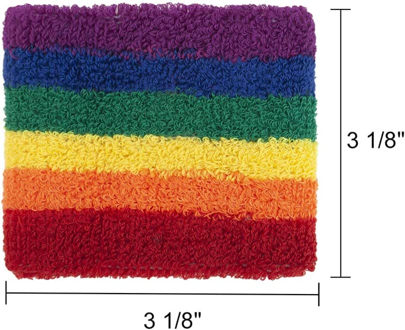 GOGO 12 Pieces Rainbow Terry Cloth Wristbands Cotton Wrist Sweatband