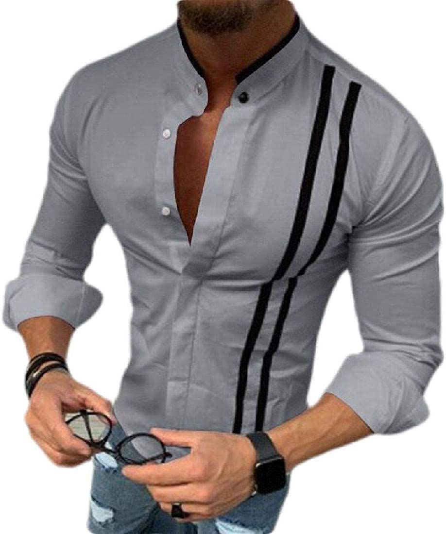 UUYUK Men Long Sleeve Button Front Casual Slim Fit Shirt