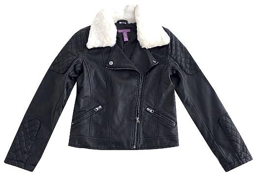 013e4ceac Amazon.com  Aqua Girls Faux Leather Jacket W Fur-lined Collar ...