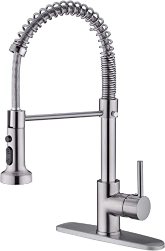 BZOOSIU Commercial Pull Down Out Sprayer Spring Kitchen Faucet Solid Brass Single Lever Handle, Brushed Nickel Kitchen Sink Faucet