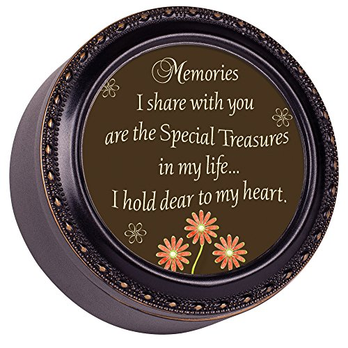Cottage Garden Memories I Share with You Special Black Rope Trim Petite Round Jewelry and Keepsake Box