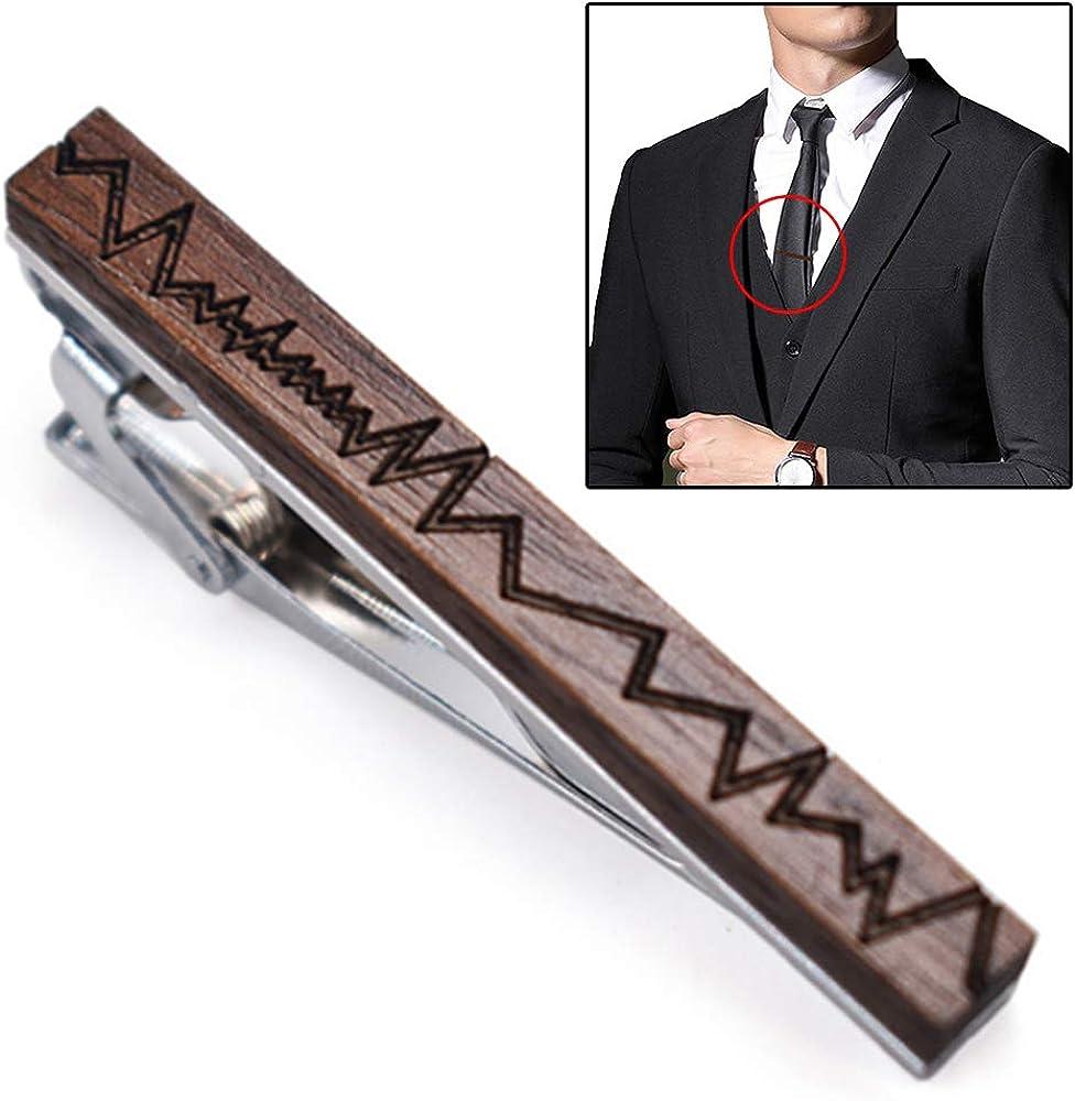 Lankater Pinces /à cravate en bois motifs g/éom/étriques Forme cravate Bar Robe de mari/ée formelle Accessoires de bijoux pour homme Clasp
