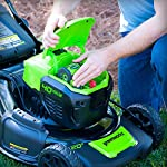 Greenworks g-max 40v 20-inch cordless 3-in-1 lawn mower with smart cut technology, (1) 4ah battery and charger included mo40l410 31 includes (1) max capacity 4 ah - 40v lithium battery , cutting heights - 5 position durable 20'' steel deck lets you mulch, bag, or side discharge allowing you to maintain your yard the way you want it. This lawn mower is not self-propelled innovative smart cut technology automatically increases the speed of the blade when more power is needed