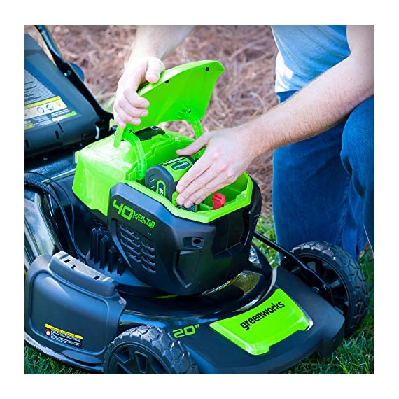 Greenworks g-max 40v 20-inch cordless 3-in-1 lawn mower with smart cut technology, (1) 4ah battery and charger included mo40l410 14 includes (1) max capacity 4 ah - 40v lithium battery , cutting heights - 5 position durable 20'' steel deck lets you mulch, bag, or side discharge allowing you to maintain your yard the way you want it. This lawn mower is not self-propelled innovative smart cut technology automatically increases the speed of the blade when more power is needed