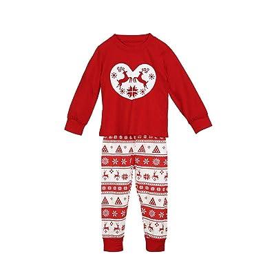 e4bdb8a36a FEDULK Matching Family Pajamas Christmas Reindeer Print Sleepwear Homewear Kids  Pjs Sets(Red