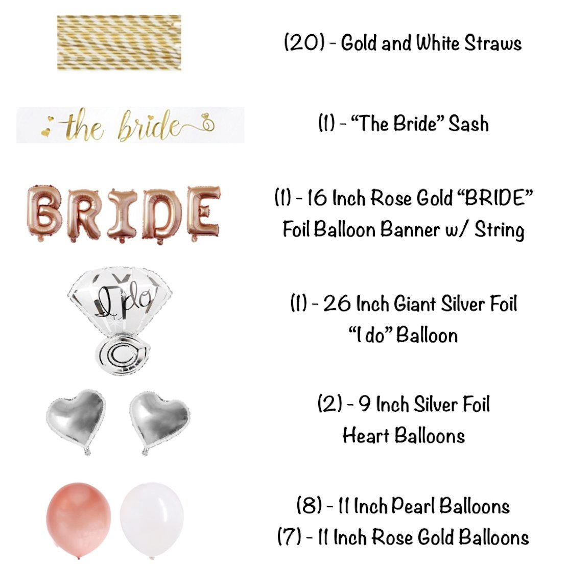 Bachelorette Party Decorations Pack - Rose Gold Party Supply Kit with Rose Gold, White Pearl and Silver Heart Balloons + Rose Gold Straws + The Bride Sash + Bride Foil Banner and Diamond Ring Balloon by Party Simple (Image #3)