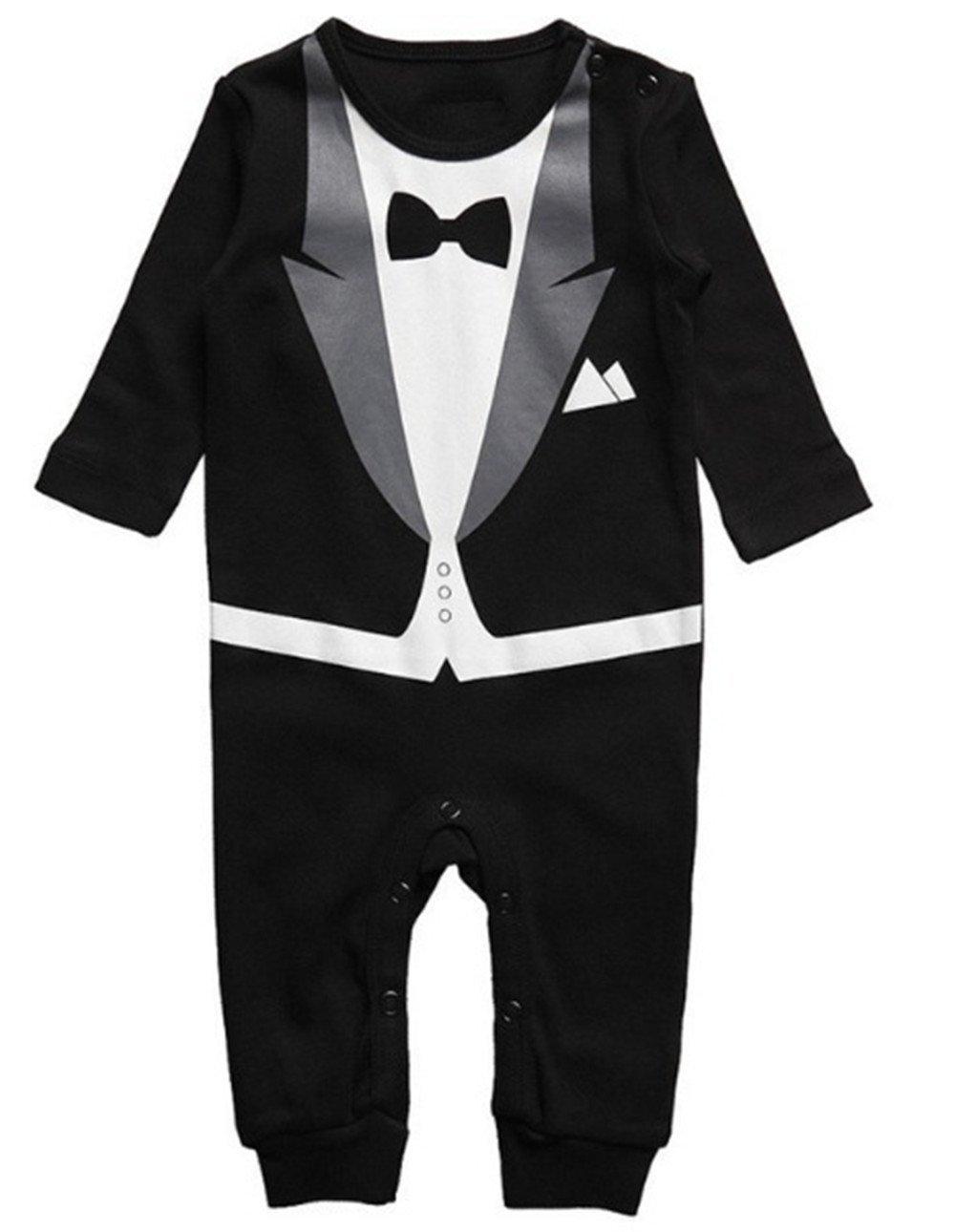 LJYH Baby Boy Romper Tuxedo Jumpsuit Gentleman One-Piece Romper Bowtie Bodysuit