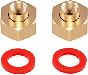 "Minimprover 2PCS Lead Free Brass Hex Swivel 1/4"" NPT to 3/4 inch Female GHT Garden Hose Thread Connector Adapter,Garden Hose Pipe Fitting For Fuel/AIR/Water/Oil/Gas WOG"