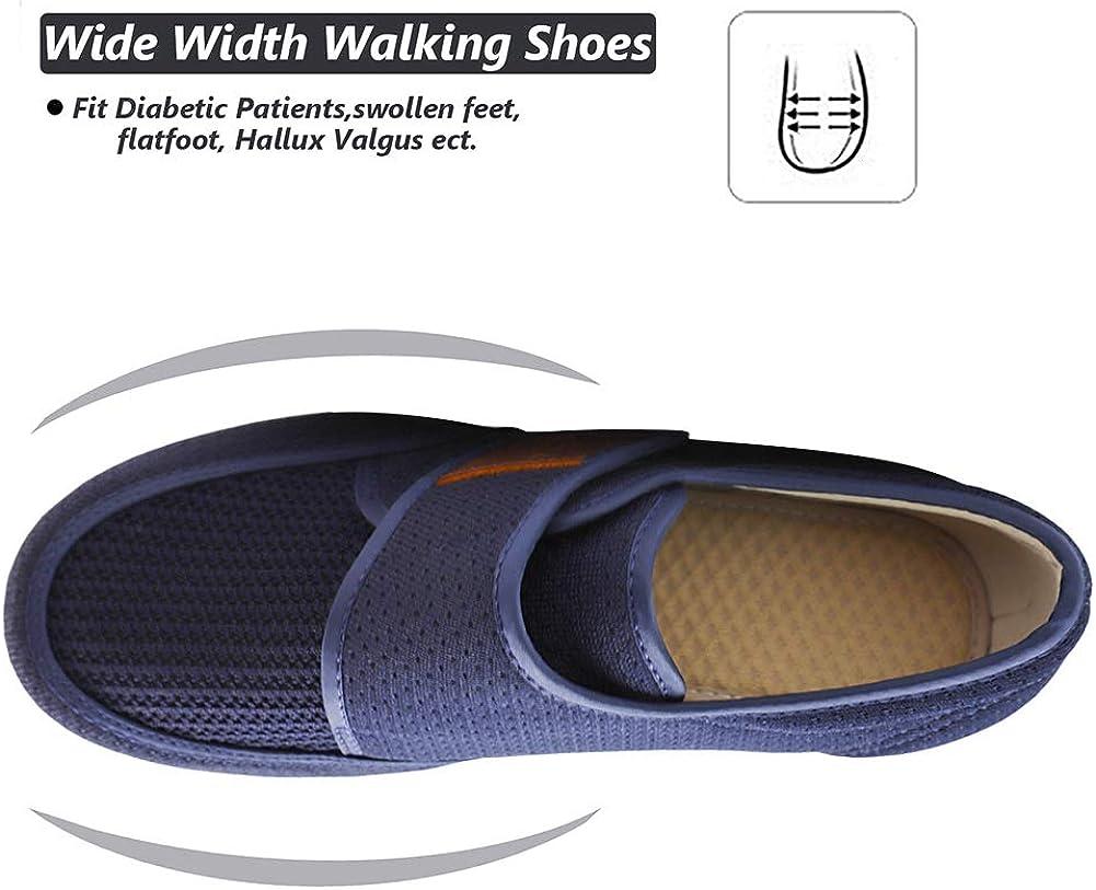 CHUANGLI Men's Diabetic Walking Shoes Breathable Trainers, Air Cushion Sneakers Lightweight Adjustable Closure Elderly Slipper for Edema & Arthritis Swollen Feet A Dark Blue