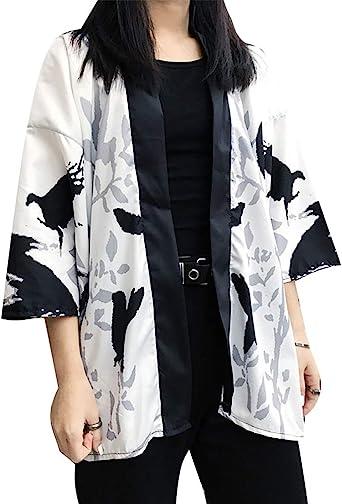 PengGengA Mujer Hombre Japonés Diseño De Flores Kimono Camisa Kimono Hippie Cloak Bata De Vestir: Amazon.es: Ropa y accesorios