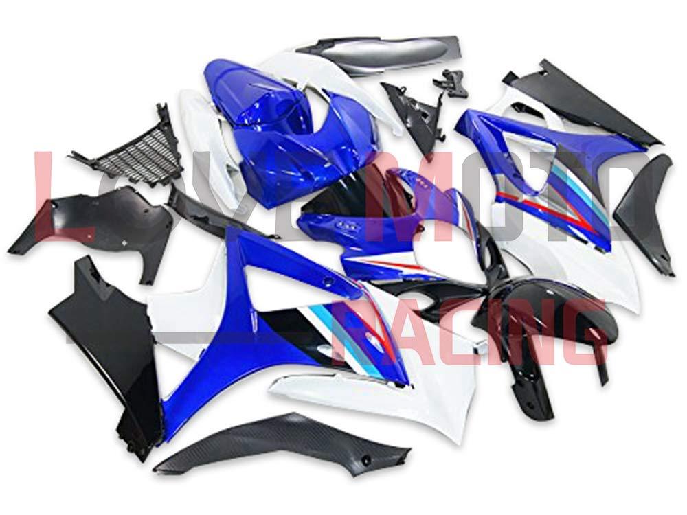 LoveMoto ブルー/イエローフェアリング スズキ suzuki GSXR1000 GSXR 1000 2007 2008 K7 07 08 GSX R1000 K7 ABS射出成型プラスチックオートバイフェアリングセットのキット ブルー ホワイト   B07KG3PV82