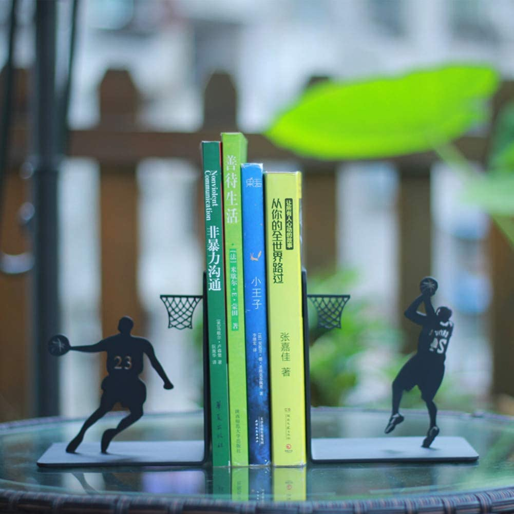 Creative Basketball Bookends,Metal Desktop Book Stand,Student Simple Bookend,Study Bedroom Decoration,Art Decoration-A