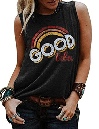 ae25f964b1da77 Amazon.com  Tsun Women Good Vibes Letter Print Tank Tops Casual Rainbow  Sleeveless Shirt  Clothing