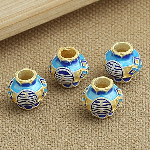 Luoyi 1pc Golden Plated Sterling Silver Large Hole Enamel Bead, Vase Cloisonne Spacer Bead, 11*11mm, Hole: 4mm (Sterling Vase)