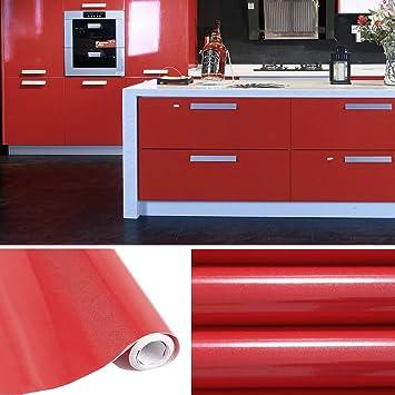 KINLO selbstklebende Folie Küche Rot 61x500cm aus hochwertigem PVC  Küchenschränke Küchenfolie Klebefolie Tapeten Küche wasserfest Aufkleber  für ...