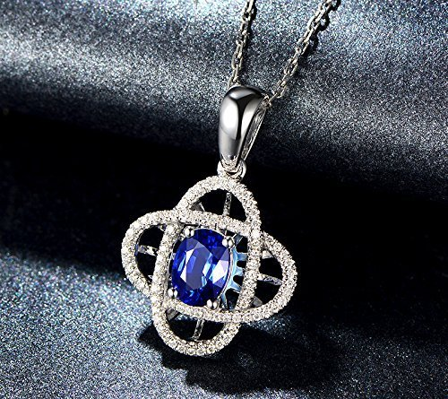 Solid 18k white gold Pendant,0.25ct SI-H Diamond pendant for necklace,1.01ct Oval Natural Blue Sapphire,Pave set ()