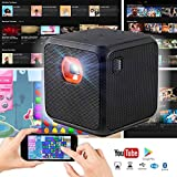 XPRIT Camping Smart Cube Portable Projector with Wi-Fi & Bluetooth, 50 ANSI, Android 7.1, Remote Control Included (Black)