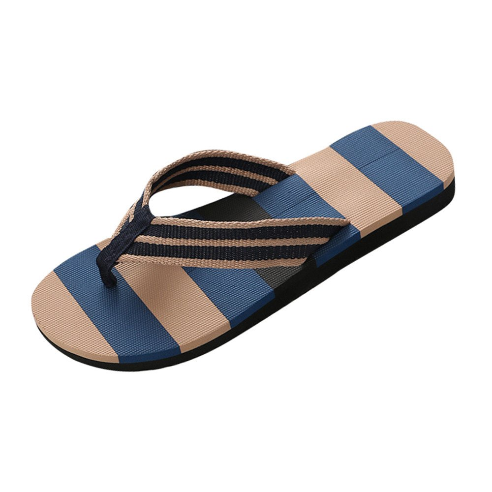 Corriee Mens Fashion Striped Printed Indoor Outdoor Flip Flops Breathable Anti-Slip Shoes Male Summer Slippers Blue by Corriee (Image #1)