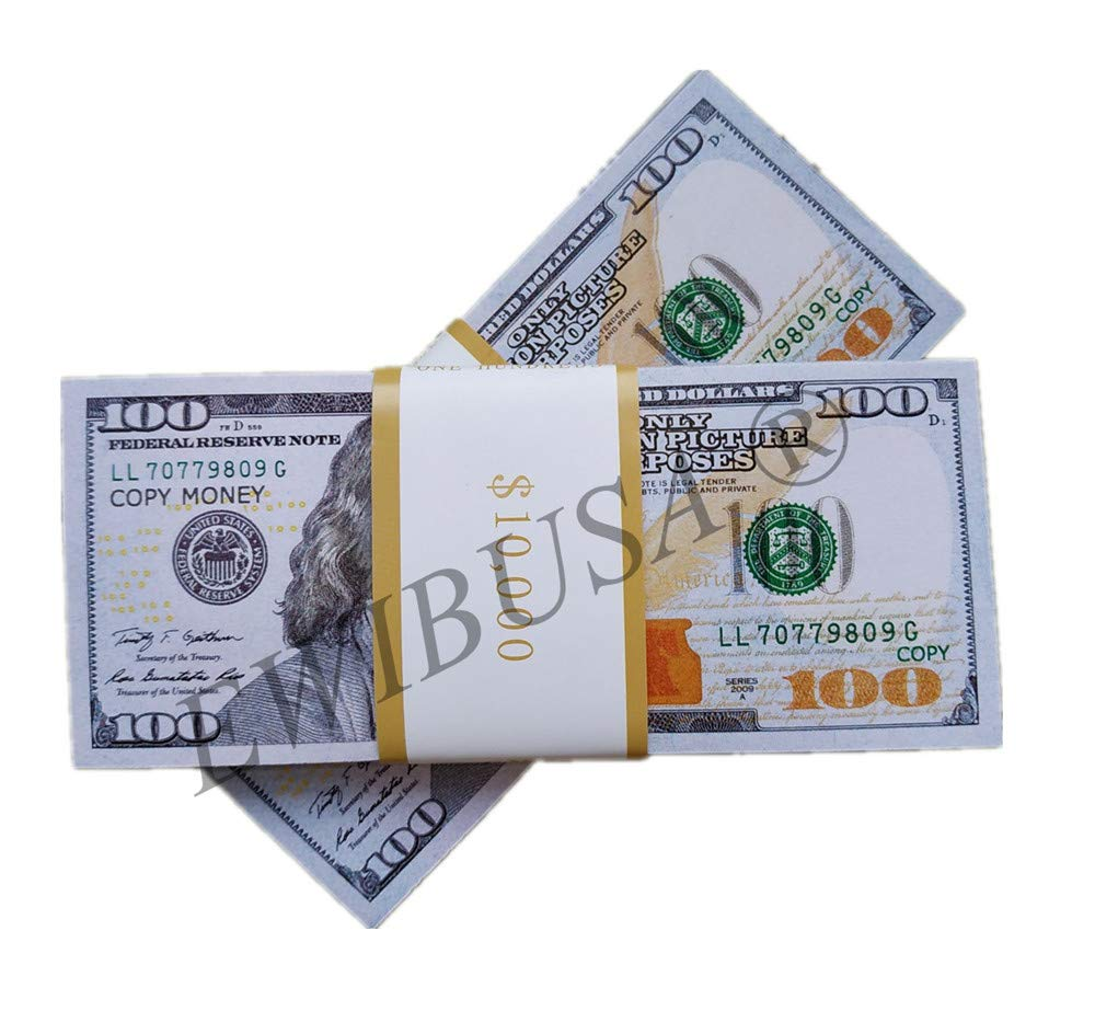 EWIBUSA Prop Money Imitate Currency ,HD Quality Copy Money $100 Total $20,000 Dollar Wedding/Party/Scenario Supplies,Fully Meet The Video/Movie/Tv/Music Video Production by EWIBUSA