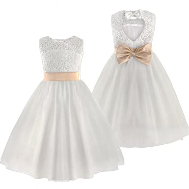 3e0652ca373 Amazon.com  Lokouo New Flower Girl Dresses White Ivory Real Party Pageant  Communion Dress Little Girls Kids Children Dress for Wedding  Clothing