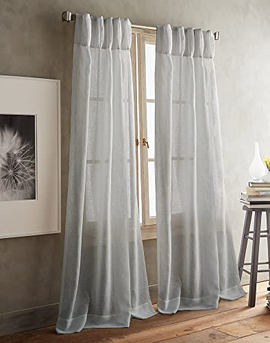 DKNY Paradox Pencil Pleat Sheer Window Curtain Panel Pair