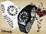 Disney ディズニー ミッキー ロゴ インデックス 腕時計 2本ペアセット ホワイト×ブラック ラバーベルト 白 黒 バレンタインギフトに 【ギフトラッピング無料】[並行輸入品]