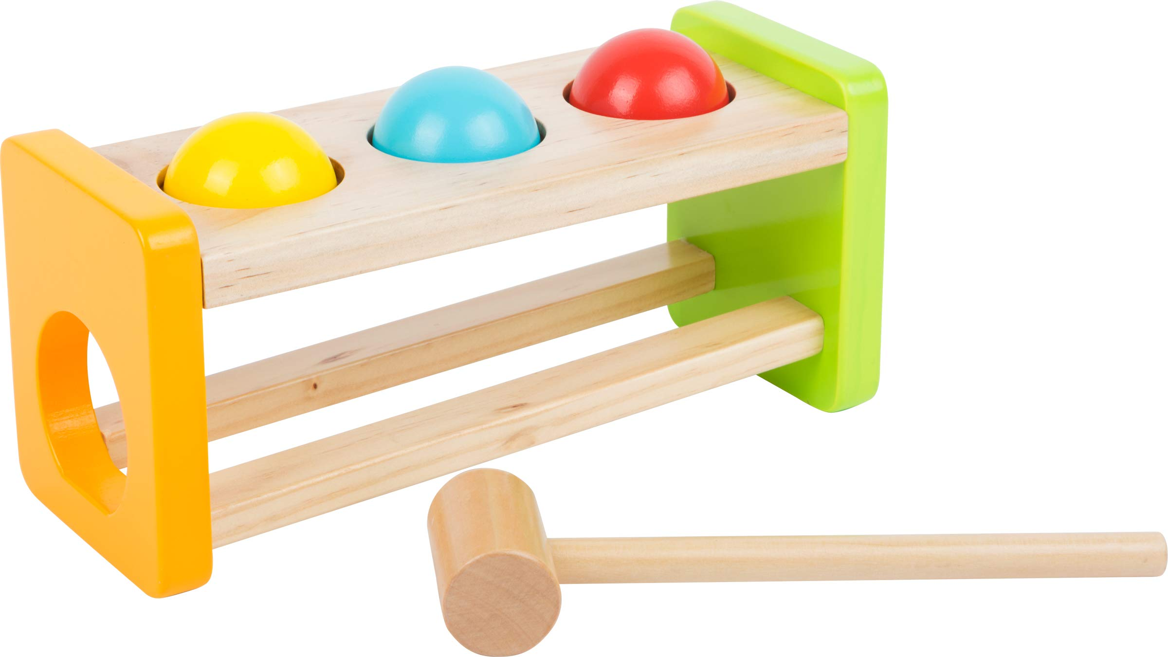 Small Foot Wooden Toys Hammering Marble Run with Three Colorful Wooden Balls Toy Designed for Children 18+ Months