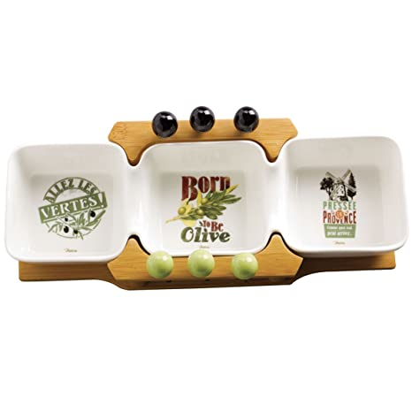 Olive Picks Natives Set of 3/Bowl on Wood with Stakes for Picks