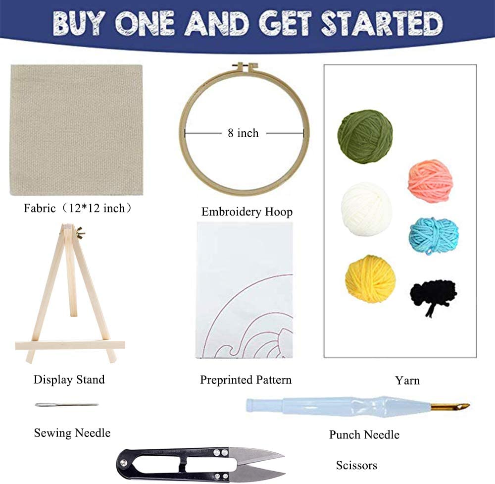 Embroidery Pen and Hoop Beginner Hook Kits with Display Stand Stosts Cat Punch Needle Embroidery Kit Rug-Punch Hooking Knitting Kit 8 x 8 Inch