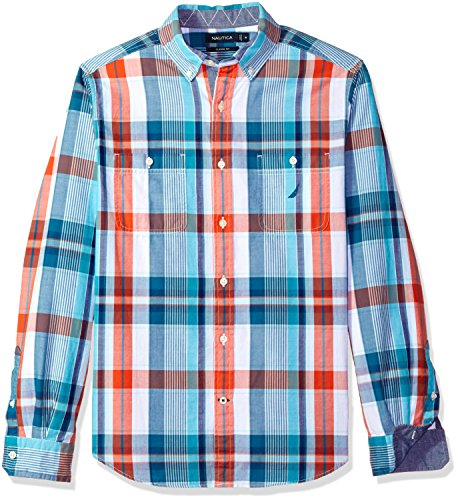 Nautica Men's Long Sleeve Chambray Button Down Shirt, Spicy Orange, XX-Large