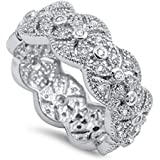 White CZ Vintage Stackable Wedding Ring New .925 Sterling Silver Band Sizes 5-10