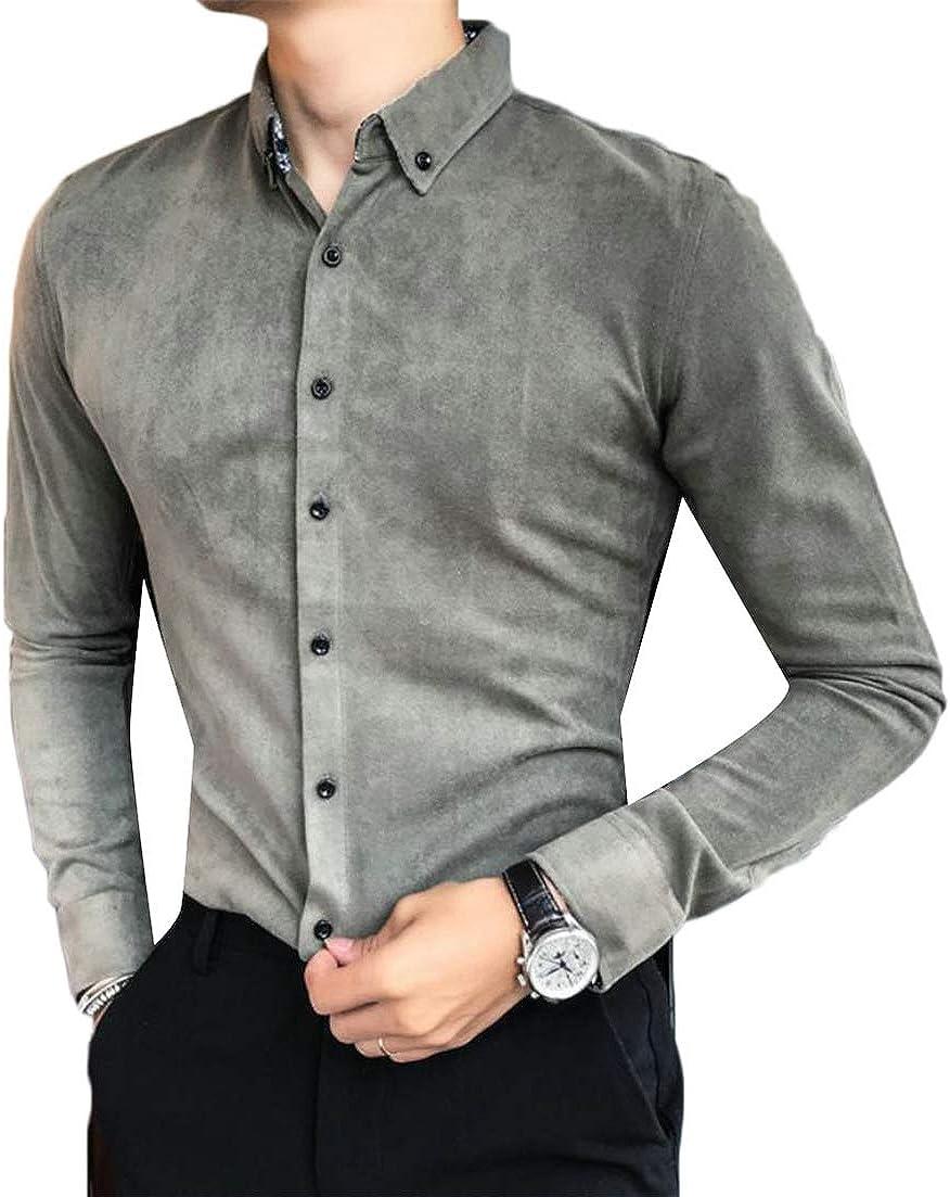 Adriat Mens Plain Tops Long Sleeve Velvet Turn Down Button Front Shirts