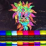 Luminous Fabric & Textile UV Paint - Set of 8