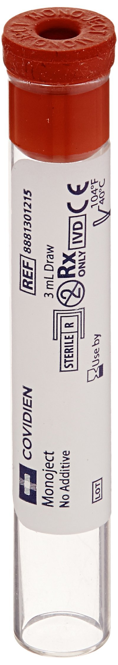 Kendall 8881301215 Monoject Silicone Coated Glass Blood Collection Tube with Glycerine Coated Red Stopper, 3mL Draw, 10.25mm Diameter x 64mm Length (Case of 1000)