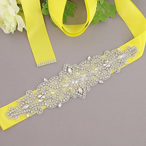 Azaleas Belt for Belts Sash Wedding Yellow Sashes Simple Wedding Crystal Beaded rSyqagcrF