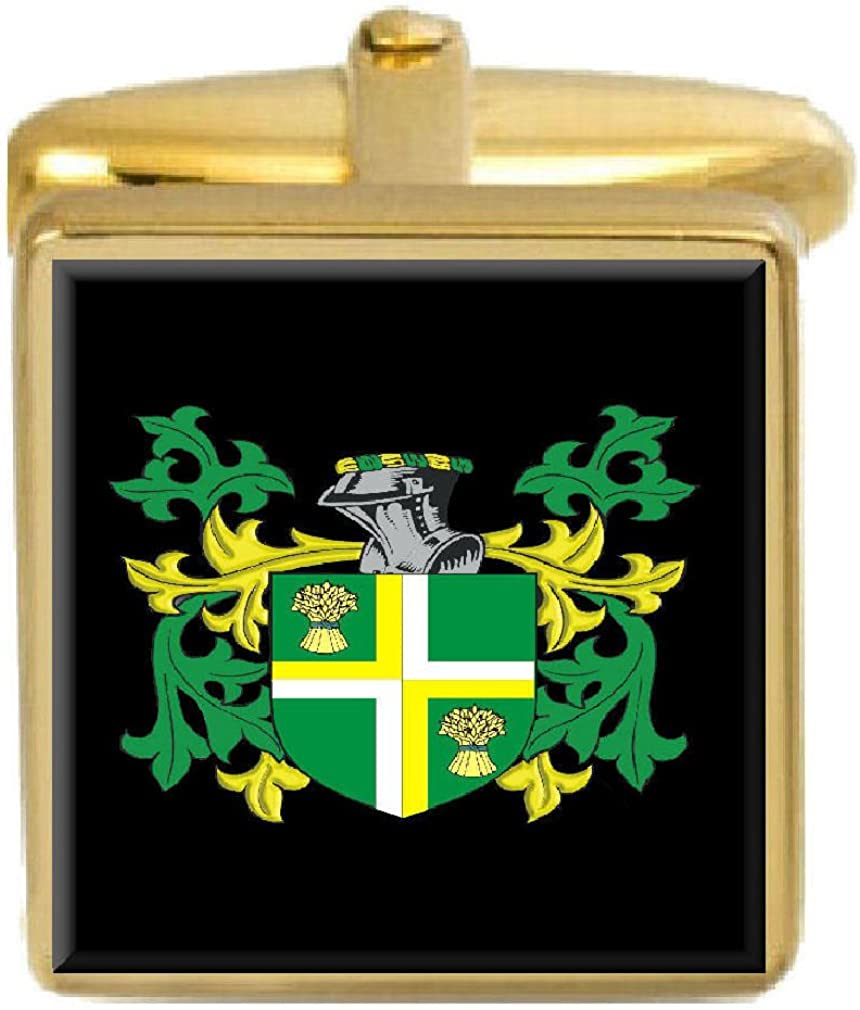 Select Gifts Yate Family Crest Surname Coat Of Arms Gold Cufflinks Engraved Box