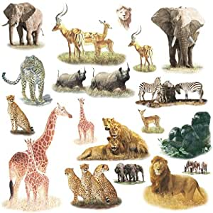 RoomMates RMK1130SCS Safari Peel & Stick Wall Decals, 19 Count