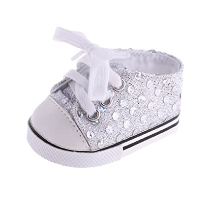 73598ec48a305 Amazon.com: MonkeyJack 1 Pair of Fashion White Sequin Canvas ...