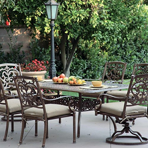 Darlee Santa Barbara 7 Piece Cast Aluminum Patio Dining Set With Rectangular Table - Antique Bronze