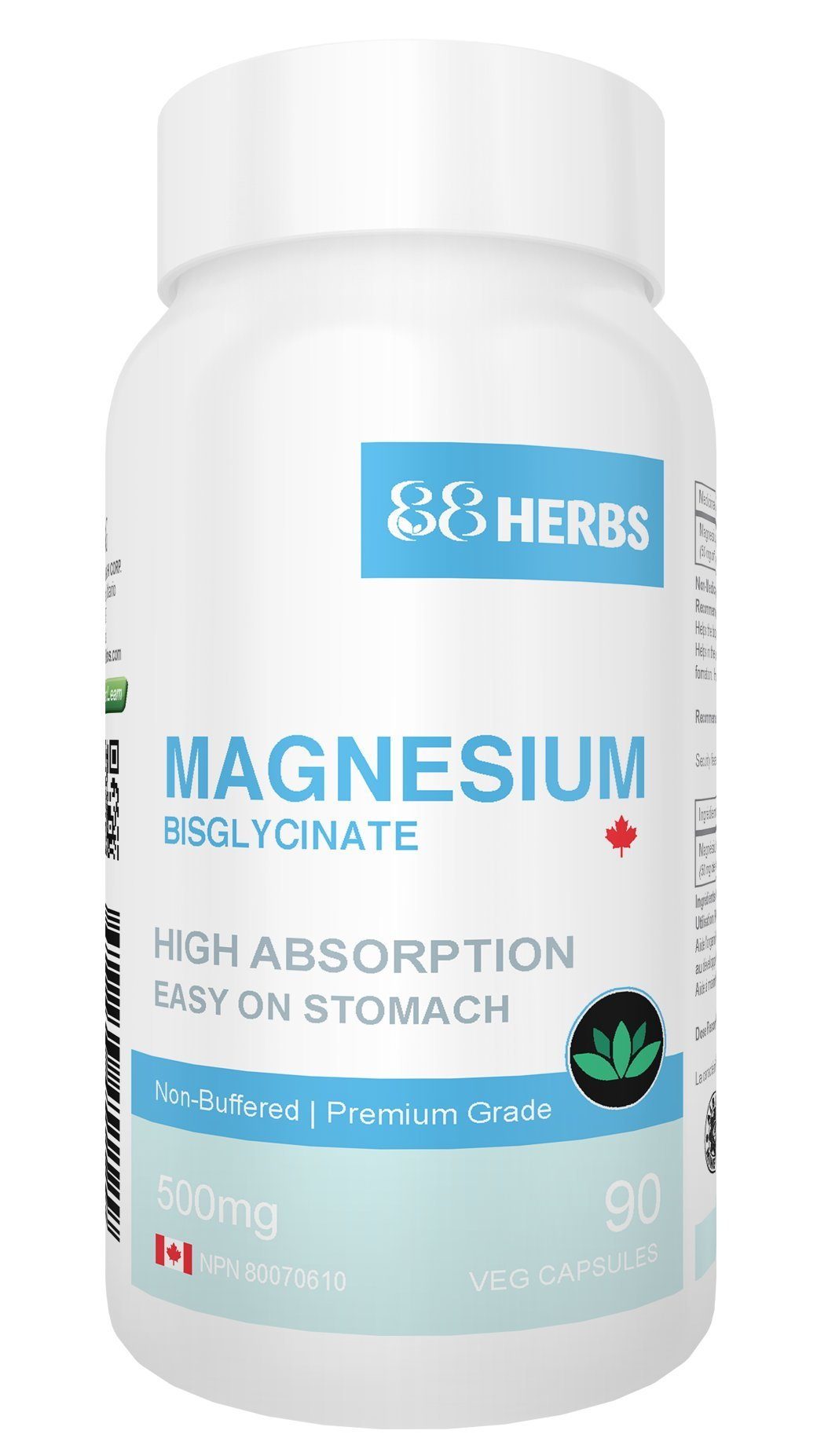 Magnesium Bisglycinate – Highest Absorption – Premium Grade – No Fillers – Non Buffered – 90 Veg Caps – 500mg Magnesium Bisglycinate per cap (50mg Elemental Magnesium)