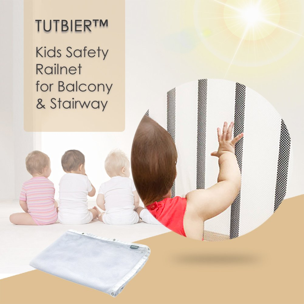 TUTBIER Kids Net for Indoor Balcony and Stairway, Enhanced Banister Stair Net, 10ft L x 3ft H