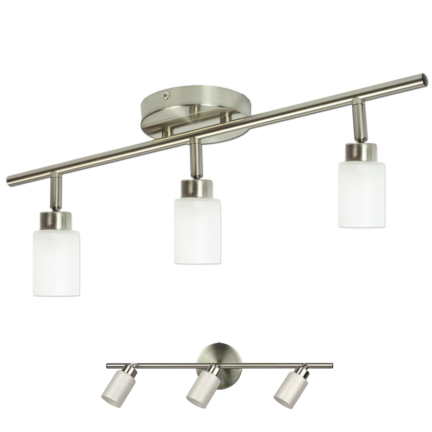 Brushed nickel 3 light track lighting fixture wall or ceiling mount amazon com