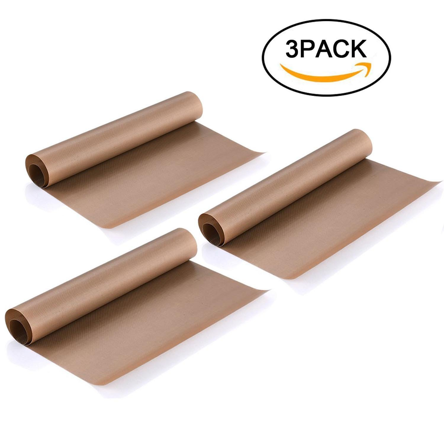 3 Pack PTFE Teflon Sheet 16 x 20 For Heat Press Transfer Sheet, Non Stick Heat Resistant Craft Mat, Vinyl Sheets for Sewing Ironing Clothes Protector, Paints, Crafting, Bakery, Barbecue grill mat, etc Amaxwon