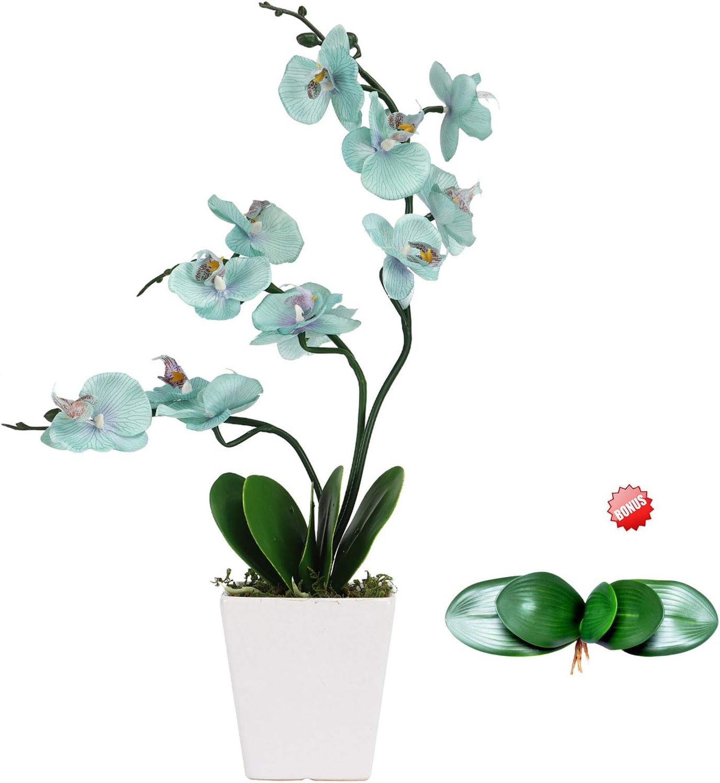Artificial Table Orchid Flowers with Vase - Indoor Decoration Blue Silk Orchid Flower Plant Pot Faux Arrangements - Fake Floral Office Shelf Plants Potted Orchids Home Decorations - Teal Decor
