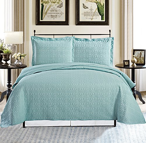 All American Collection New 3pc Square Design 100% Cotton Coverlet Set (Queen Oversize, Turquoise)