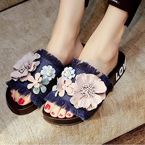 T Embroidery Slippers Sandals Blue Jeans New Handmade Flat Flower JULY Women's fwYfZqHxrO
