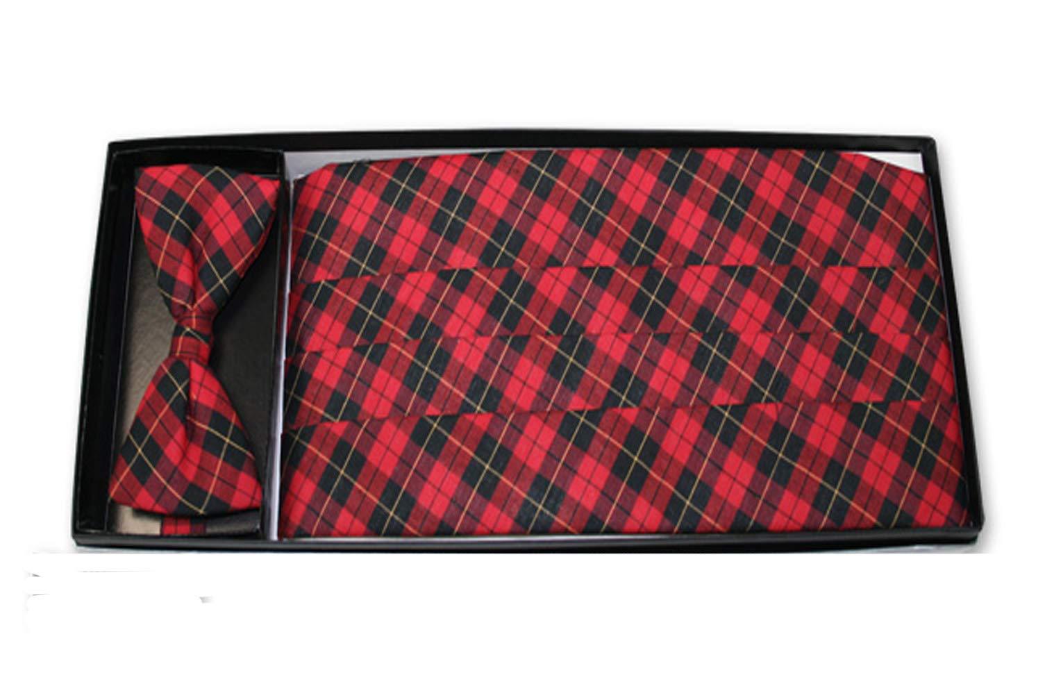 Traditional Tartan Plaid Bow Tie & Cummerbund Set by EZ Tuxedo