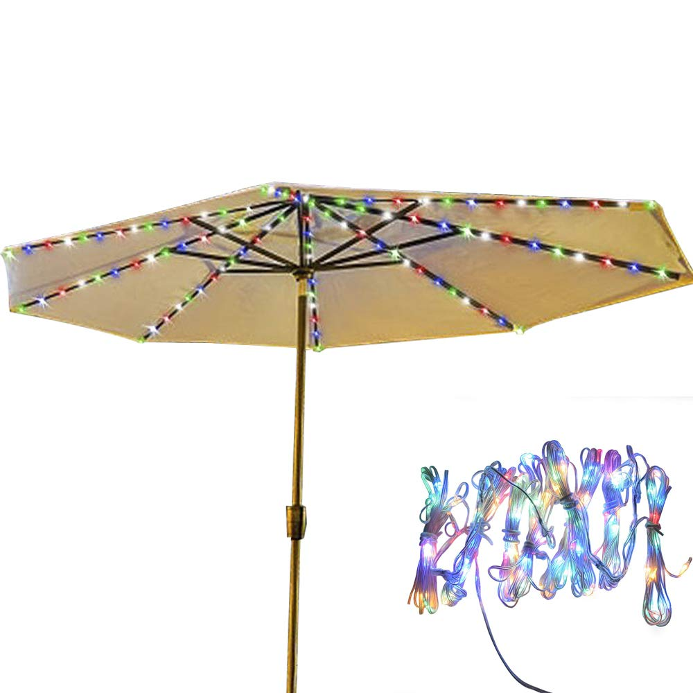 Patio LED Umbrella String Lights 13 LEDs Per String 8 Mode Battery Operated Remote Control Decor for Restaurant Coffee Shop Outdoor Garden Table Umbrella Backyard Holidays Party (Multi-Colored)