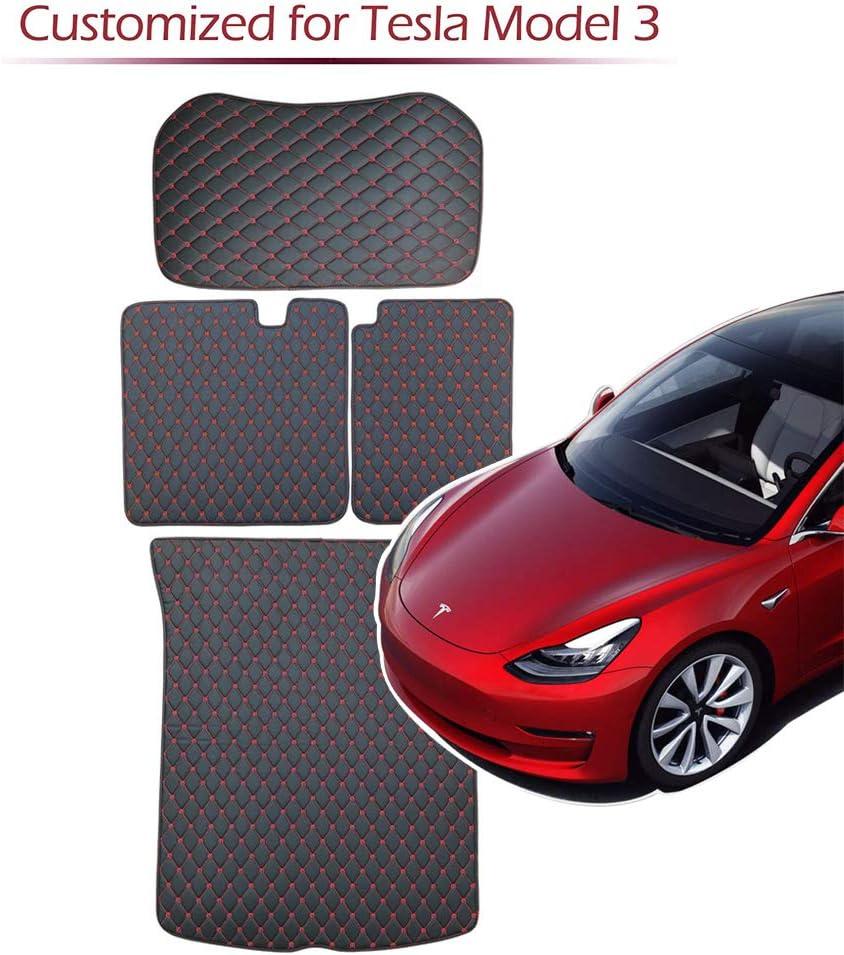 Bmzx Model 3 Kofferraummatte Matten Vorne Hinten Kofferraummatte 2 Reihe Sitzlehnenschutzpolster Abdeckung Für Tesla Model 3 Rot Auto