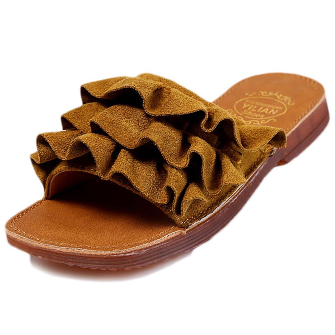 YIBLBOX Toddler Baby Girls Ruffles Slippers Flat Summer Beach Shoes Flip Flops Sandals